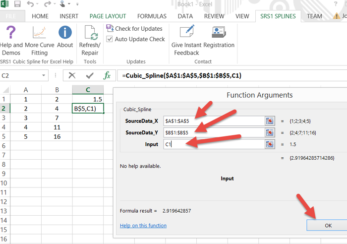 Smoothing data in Microsoft Excel using Data Curve Fit Creator Add-in