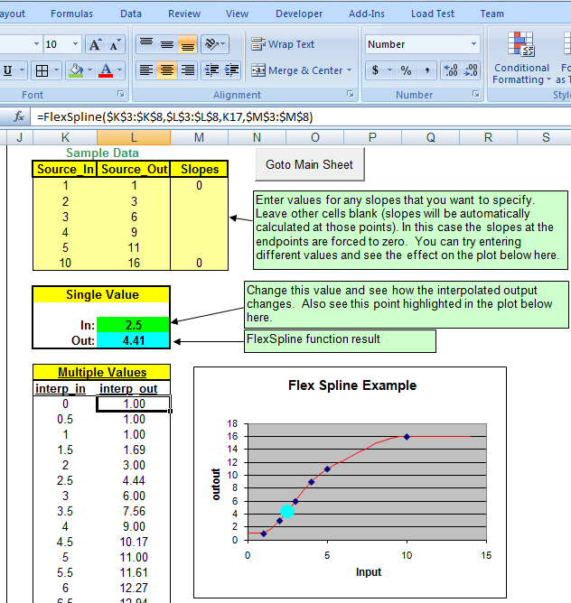 Spline interpolation in Microsoft Excel using Data Curve Fit Creator Add-in