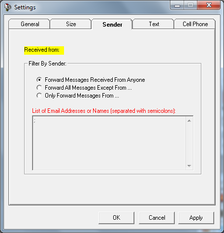General options for forwarding messages